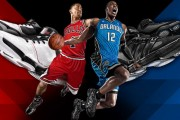 Adidas Basketball advertising in China features Derrick Rose and Dwight Howard.