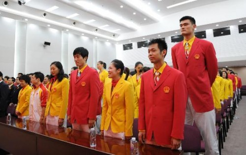 Chinese athletes wearing their 2008 Beijing Olympics Opening Ceremony uniforms - Yao Ming, Liu Xiang, and Guo Jingjing shown