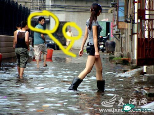Men looking at long-legged Nanchang girl circled
