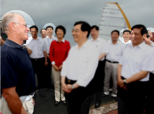 Xinhua News photo of China President Hu Jintao with all Photoshop mistakes highlighted