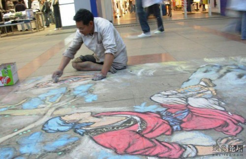 One one leg, two hands, and artistic talent Guiyang beggar makes art.