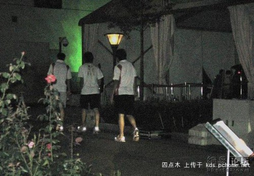 China Olympic football team players returning to their hotel.