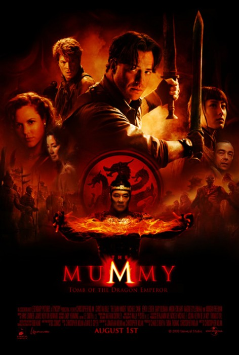 'The Mummy 3: Tomb of the Dragon Emperor' movie poster with Brendan Frasier, Jet Li, Michelle Yeoh.