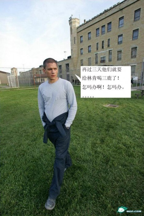 """Sanlu Photoshop: Michael Scofield: """"In three days, they are going to make Lincoln drink Sanlu! What am I going to do! What am I going to do..."""""""
