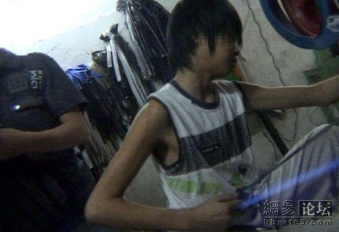 Young boy hard at work.