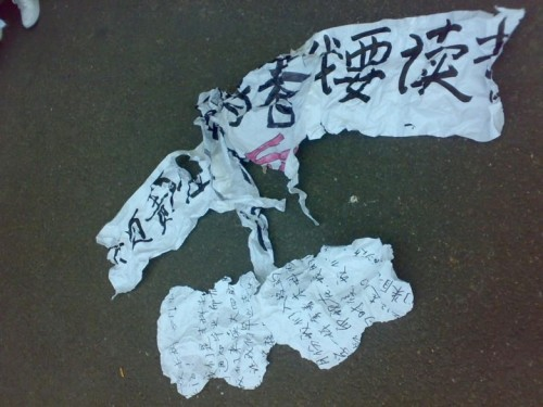 A protest banner torn by security, police, and government officials.