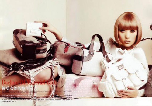 Asian girl with many expensive name brand bags.