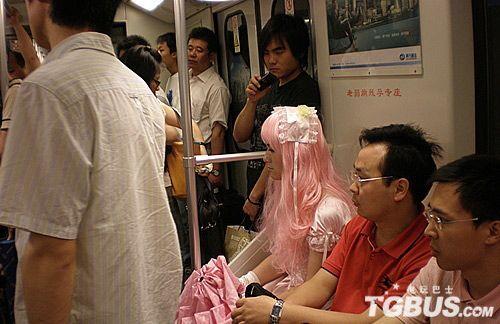Shanghai subway cross-dresser.