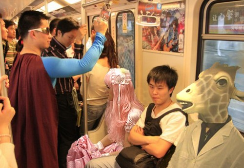 Shanghai metro costume people panoramic photoshop