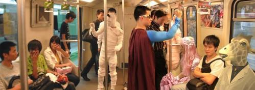 Shanghai metro costume people panoramic photoshop.