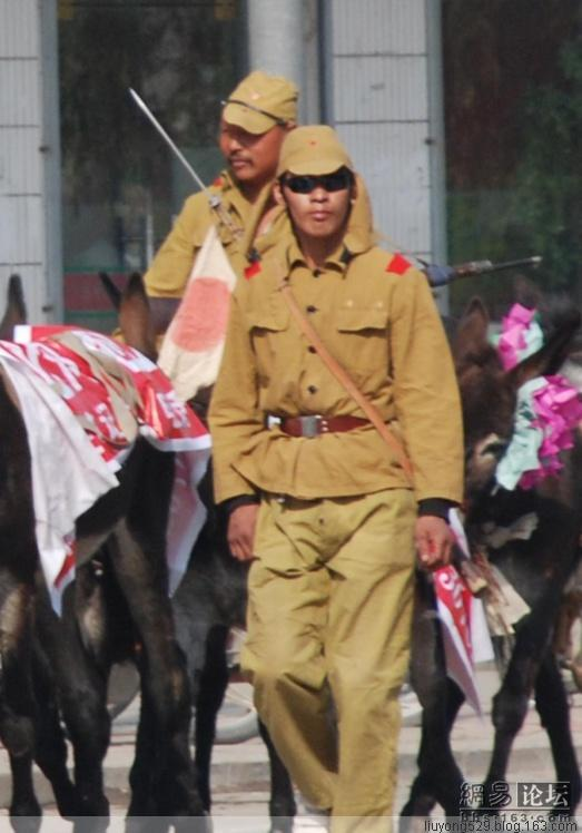 Actors in Henan, China dress up like Japanese soldiers from WWII for donkey meat publicity stunt.