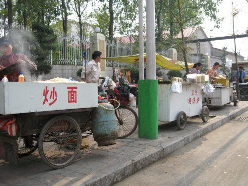 Examples of street-side food carts and snack vendors in China