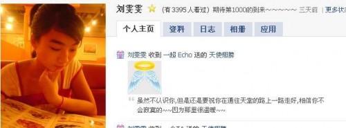 Victim Liu Wenwen's Xiaonei profile.