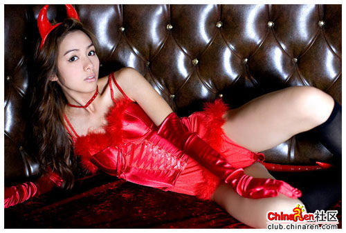 Rola Chen wearing a sexy red devil costume.