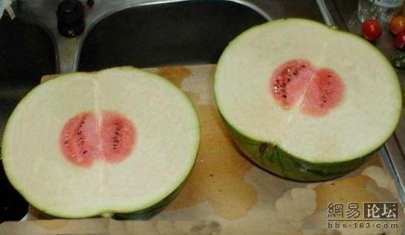A Chinese netizen's wife brings home a fruit she purchased for a very cheap price at the supermarket. However, they are surprised after the cut it open...