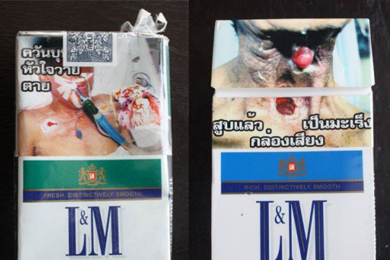 Chinese netizens discuss graphic anti-smoking warning labels on cigarette packages from Thailand and smoking in general. Many refuse to give up smoking habit.