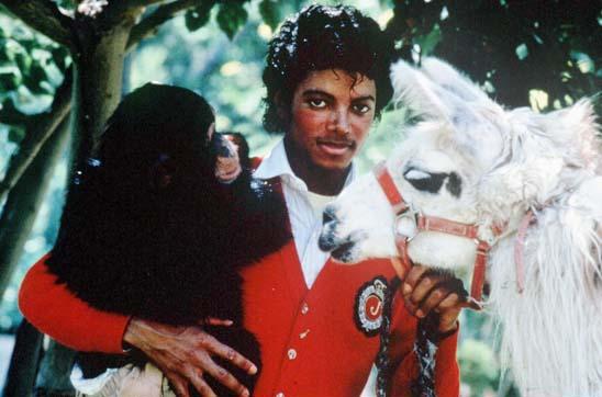 1983 - Michael Jackson with monkey and llama