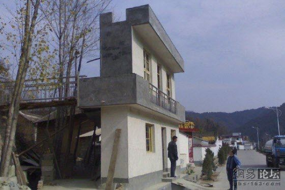 In a small rural town of China's Henan Province is a building only 1.5m deep because only the front of the building was built to trick government inspectors.