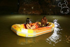 Nude underground rafting in Guangdong, China.