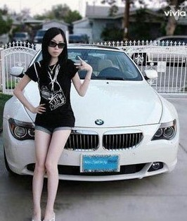 Asian girl with white BMW 6 series.
