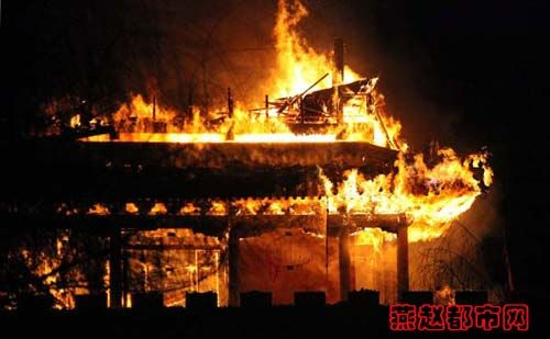 Zhengding Hubei South Gate burning