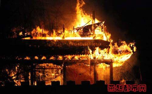 Zhengding Hubei South Gate burning