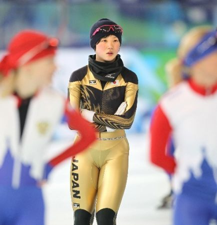 Japanese speed skater Miho Takagi at 2010 Winter Olympics in Vancouver with underwear showing through her competition uniform
