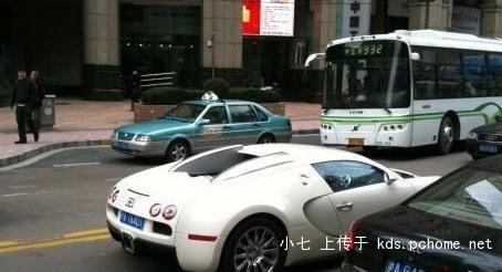 Bugatti supercar on Huai Hai Road in downtown Shanghai