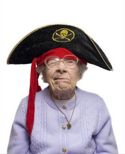 Crazy old lady wearing pirate hat.