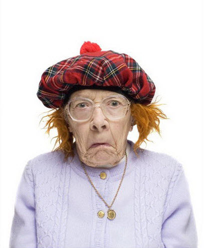 Crazy old lady wearing Scottish hat?