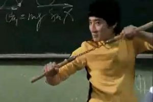 "Lenovo ""Spicy Teacher"" commercial - teacher dresses like Bruce Lee."