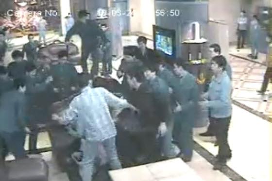 KTV security guards beating customers in Hunan, China.