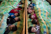 Chinese kindergarteners napping.