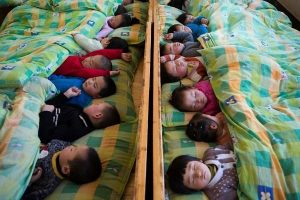 Chinese kindergarteners napping.