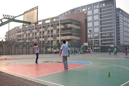 A basketball court at a Foxconn factory in Shenzhen that produces iPhones.