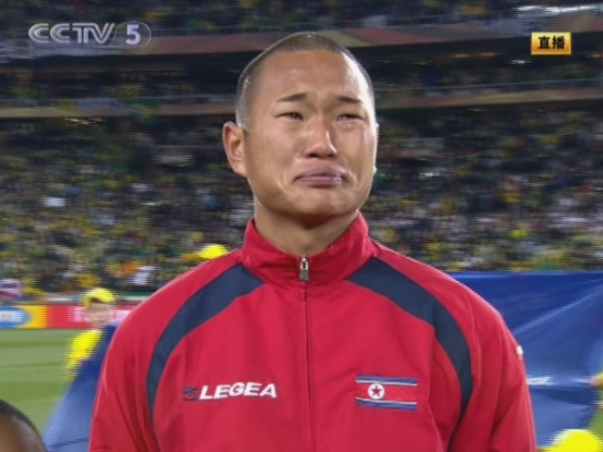 CCTV Broadcast of the 2010 World Cup North Korea vs. Brazil game shows Chong Tese crying during the national anthem.