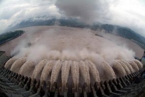 Three Gorges Dam in China discharging water.