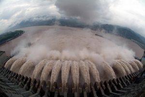 Three Gorges Dam in China discharging water.