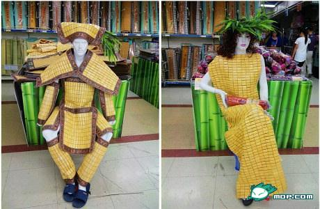 Bored supermarket employees create funny product displays in China.