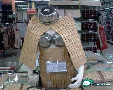 Bored supermarket employees create silly product displays in China.