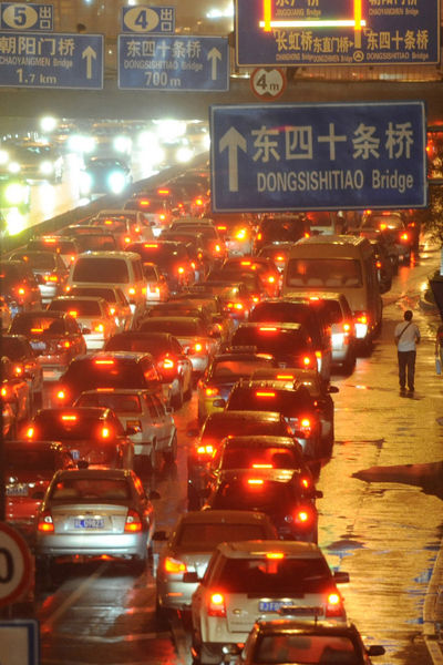 Severe traffic congestion in Beijing on September 17, 2010 setting a new record.