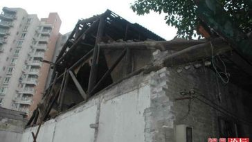 The destroyed roof.