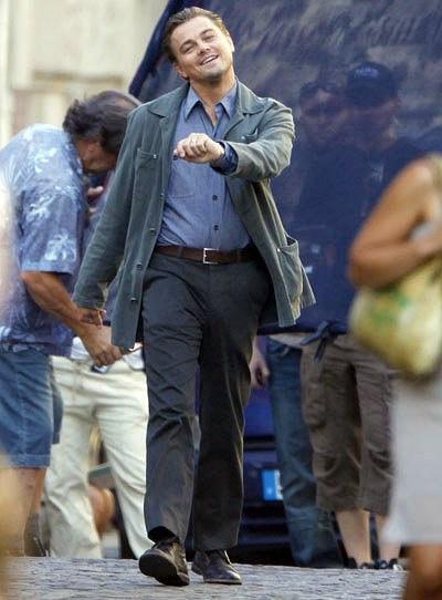 "Leonardo DiCaprio ""strutting"" on the set of Inception."