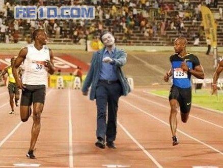 "Leonardo DiCaprio ""strutting"" photoshop: Track running."