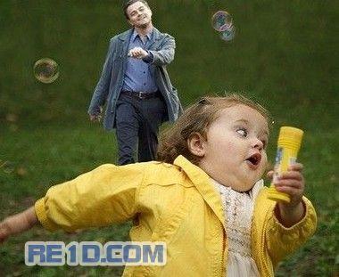 "Leonardo DiCaprio ""strutting"" photoshop: Chasing child."