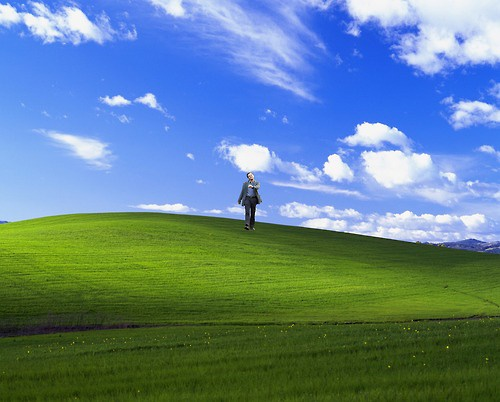 "Leonardo DiCaprio ""strutting"" photoshop: Windows XP wallpaper."