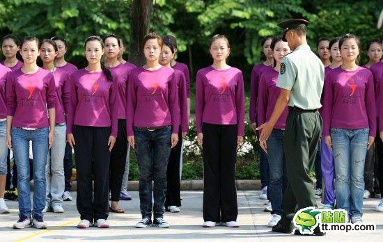 Chinese girls rehearsing for the Guangzhou Asian Games ceremonies.