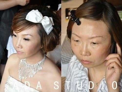 Chinese girls with make-up vs. without make-up.