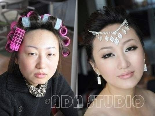 Asian girls with makeup vs. without makeup.