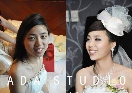 Chinese girls before and after makeup.